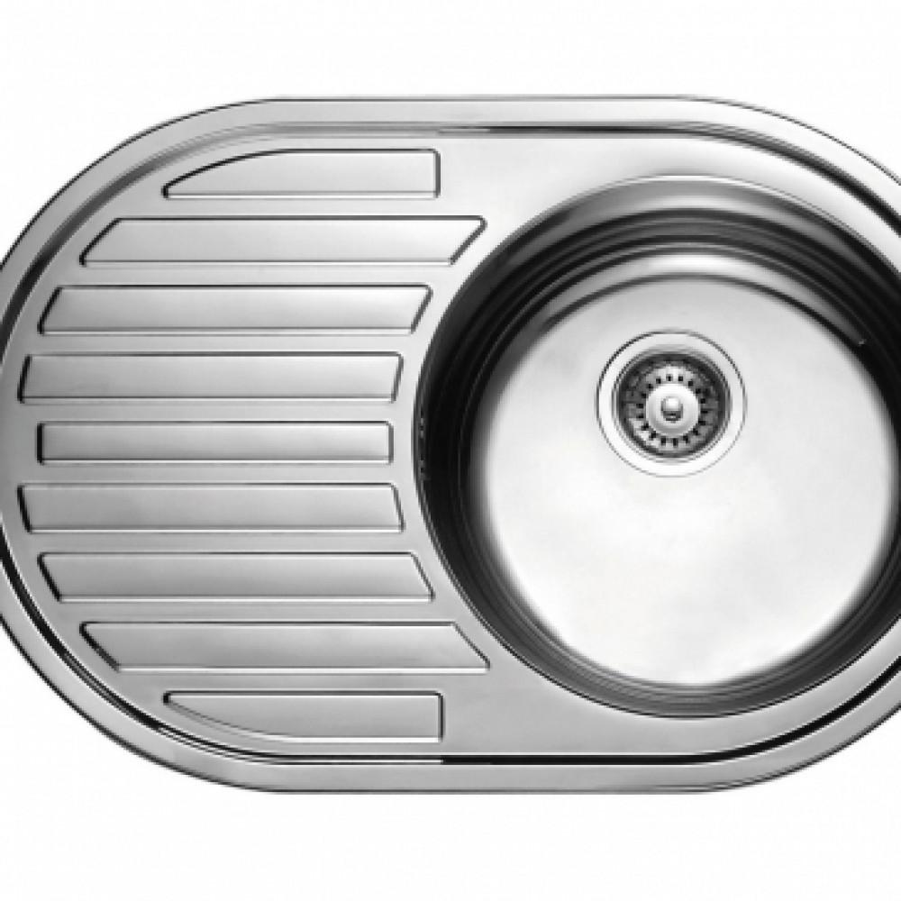 7750R Мойка из нержавеющей стали KAISER врезная 770*50*0.8mm+сифон, хром правая овальная