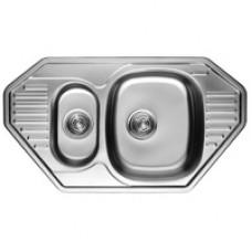 8547 Мойка из нержавеющей стали KAISER врезная 849*472*180*0.8mm+сифон, хром двойная