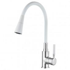 Смеситель LEDEME L4199-3 для кухни с гибким изливом БЕЛЫЙ
