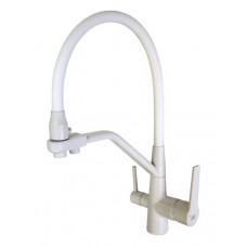 Смеситель для кухни VIKO V-5502 боковой под фильтр (белый) Ø35 с гибким изливом, латунь