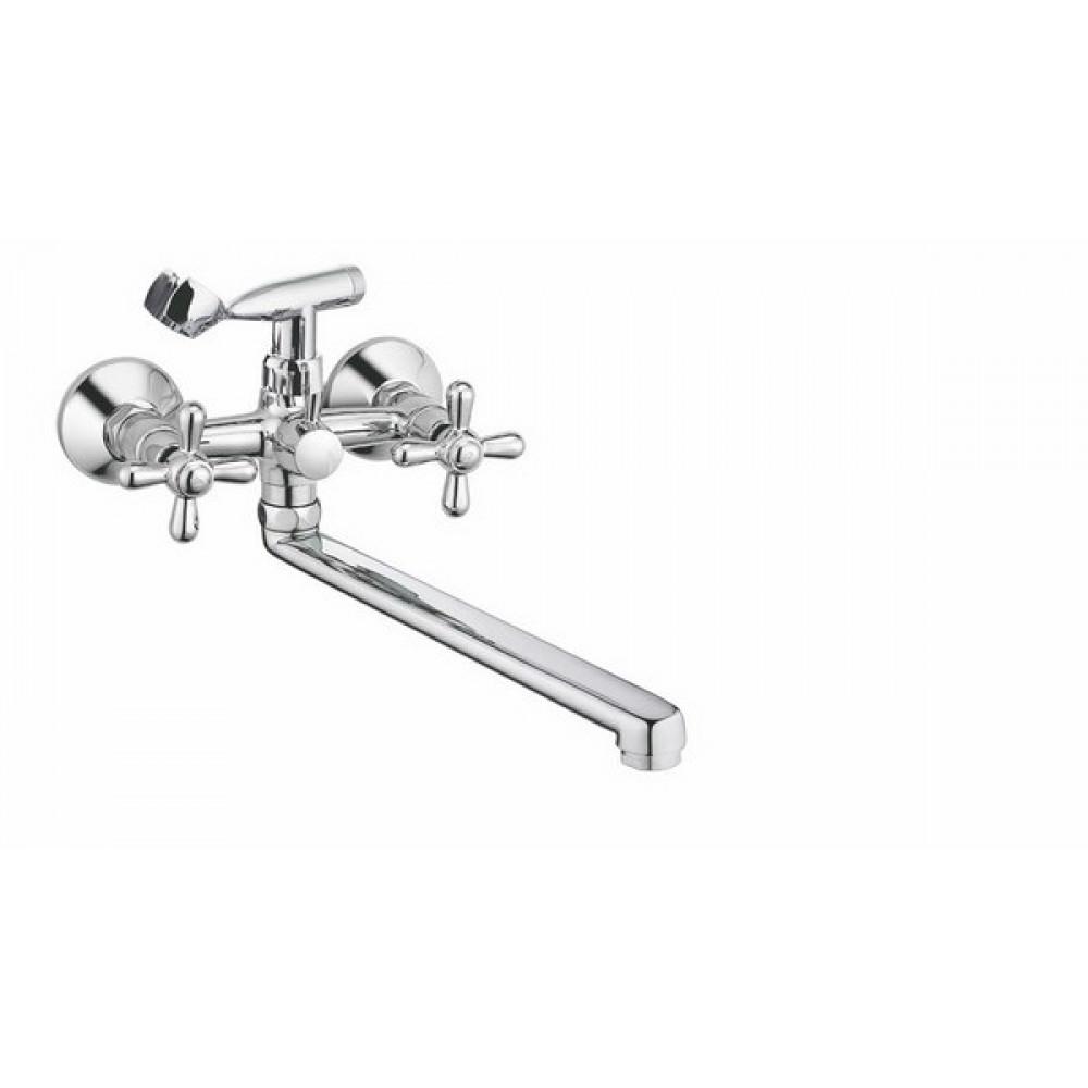 V-2025 Смеситель VIKO ванна крест кер. переключатель плоский излив L-35см