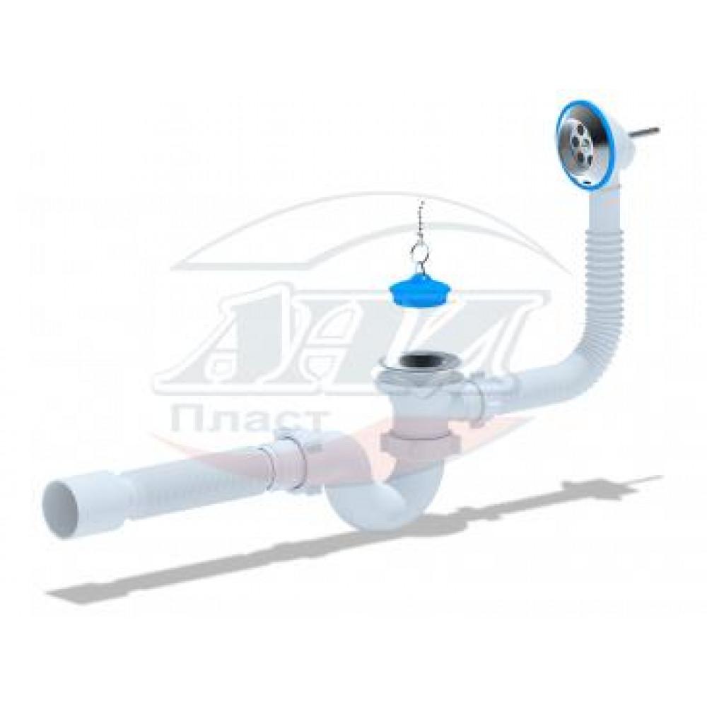 E155 Сифон АНИ для ванны с выпуском 1 1/2, с переливом, с гибкой трубой 40/50