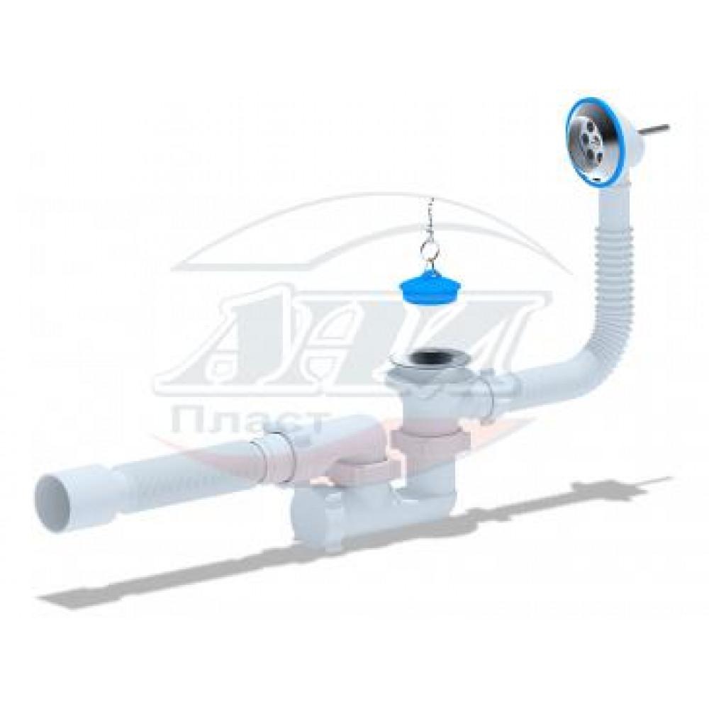 Е255 Сифон АНИ для ванны регулируемый с выпуском 1 1/2*40, с переливом, с гибкой трубой 40/50